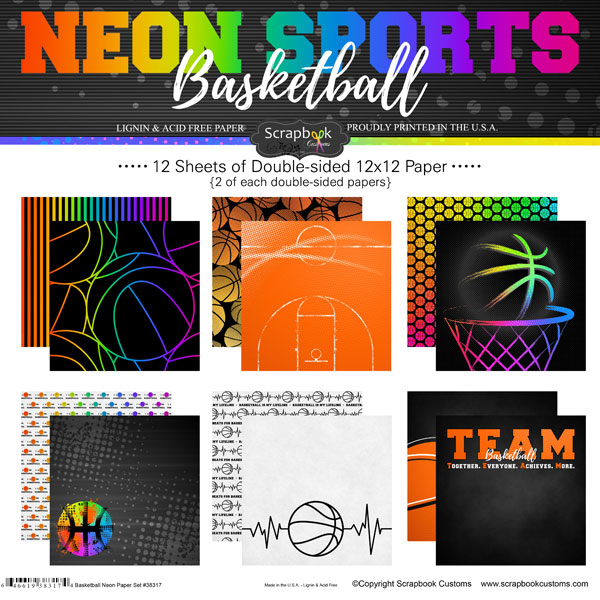 BASKETBALL NEON PAPER SET