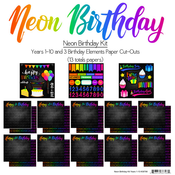 NEON BIRTHDAY KIT YEARS 1-10 PAPER